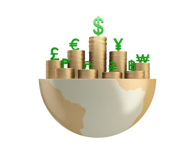 Gouden munten en valutasymbool op globe.3d-rendering