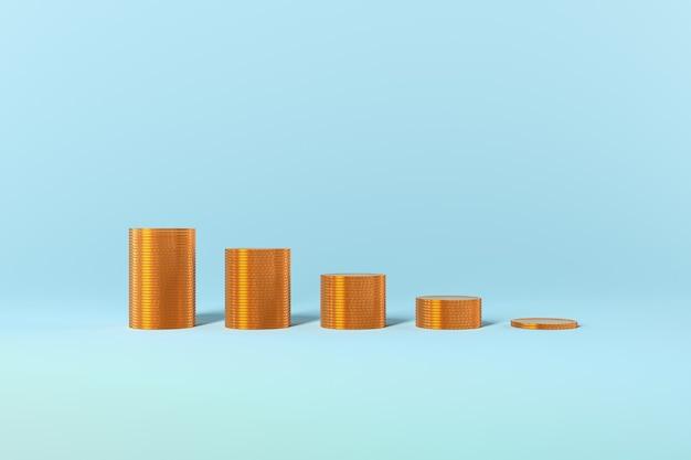 Gouden munten grafiek groei winst belastingen leningen op blauwe achtergrond. hoge kwaliteit foto