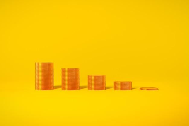 Gouden munten grafiek groei winst belastingen leningen op gele achtergrond. hoge kwaliteit foto