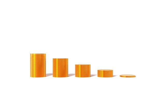 Gouden munten grafiek groei winst belastingen leningen op witte achtergrond. hoge kwaliteit foto