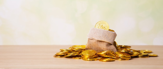 Gouden munten in zak opslaan