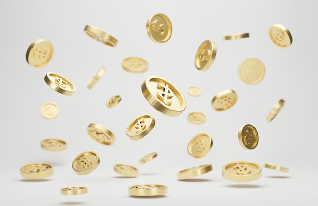Gouden munten met dollarteken vallen of vliegen geïsoleerd. jackpot of casino zak concept. 3d-rendering.