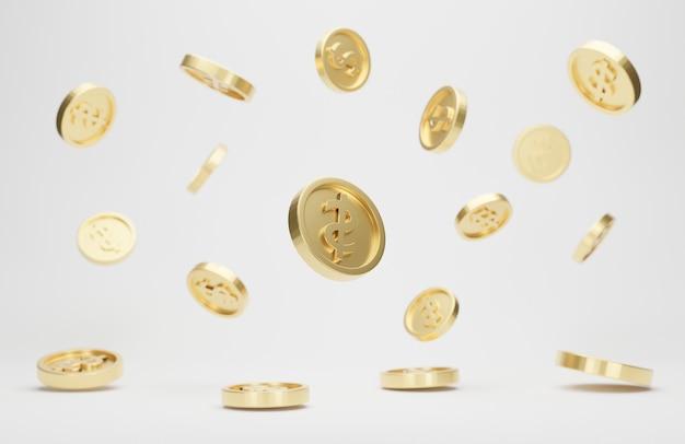 Gouden munten met dollarteken vallen of vliegen geïsoleerd op wit