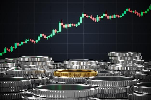 Gouden munten op die zilveren munten voor de kandelaargrafiek, achtergrond voor financiële presentatie. 3d-rendering