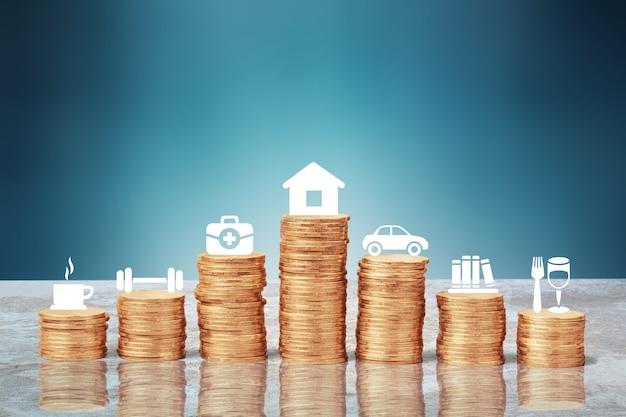 Gouden munten stapel en financiële analyse illustratie