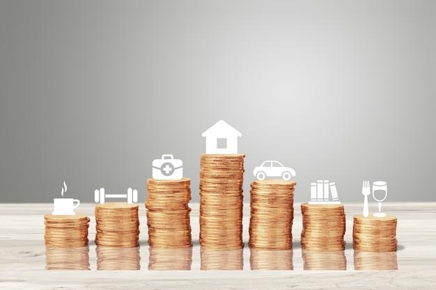 Gouden munten stapel en pictogrammen. financiële analyse concept.