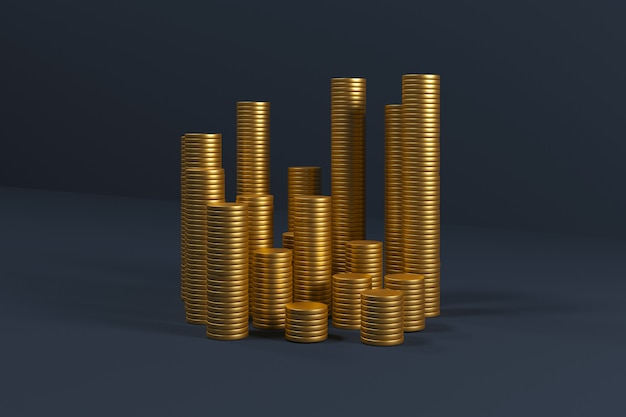 Gouden munten stapel op blauw