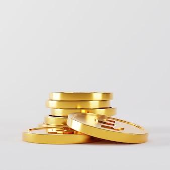 Gouden munten stapel vallen op wit.