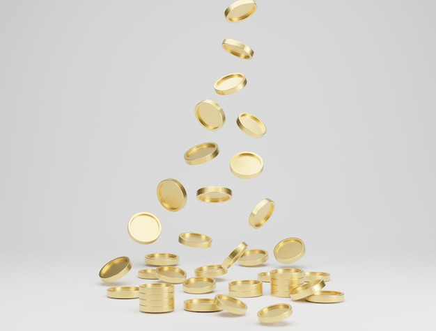 Gouden munten vallen of vliegen op witte achtergrond. jackpot of casino por concept. 3d-weergave.
