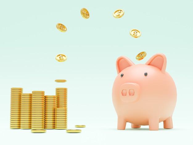 Gouden munten vliegen en zweven naar spaarvarken voor creatief financieel sparen en storten concept met kopieerruimte, 3d render.