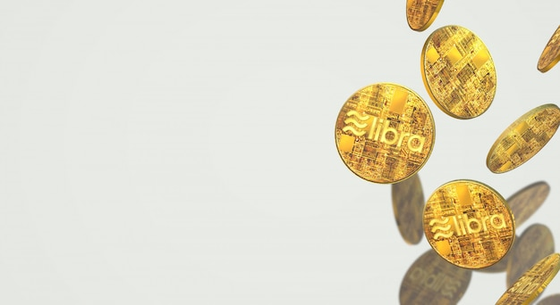Gouden munten weegschaal facebook 3d rendering cryptocurrency inhoud.