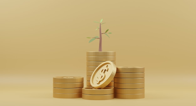 Gouden muntstukkenstapel met bomen op geel
