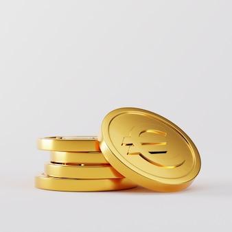 Gouden muntstukkenstapel op wit. 3d-weergave
