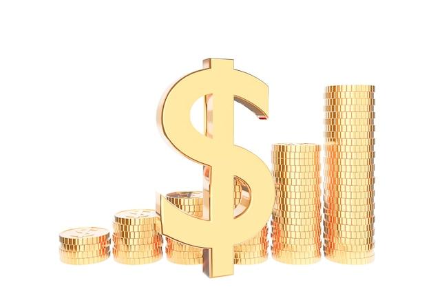 Gouden muntstukstapel op witte achtergrond., geldbesparing en investeringsconcept en besparingsideeën en financiële groei. 3d model en illustratie.