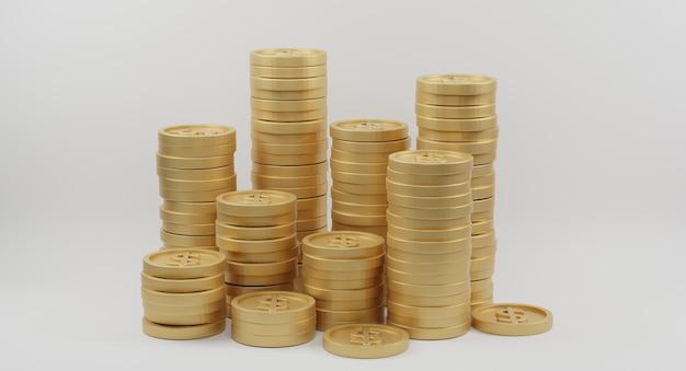 Gouden muntstukstapels met dollarteken op wit