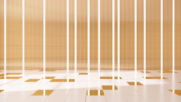 Gouden muur lichte interieur achtergrond. 3d render