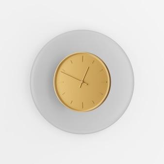 Gouden muur ronde klokpictogram. 3d-rendering grijze ronde sleutelknop, interface ui ux-element.
