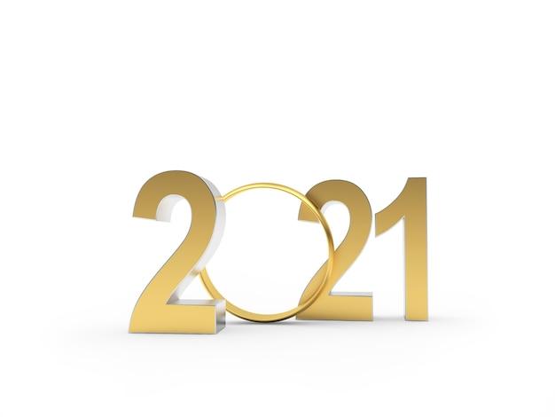 Gouden nummer 2021 met trouwring Premium Foto