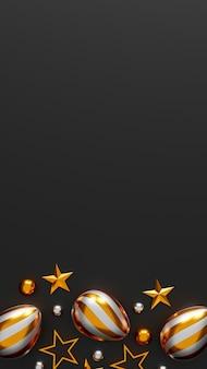 Gouden paaseieren op donkere achtergrond. bovenaanzicht. plat leggen. 3d illustratie