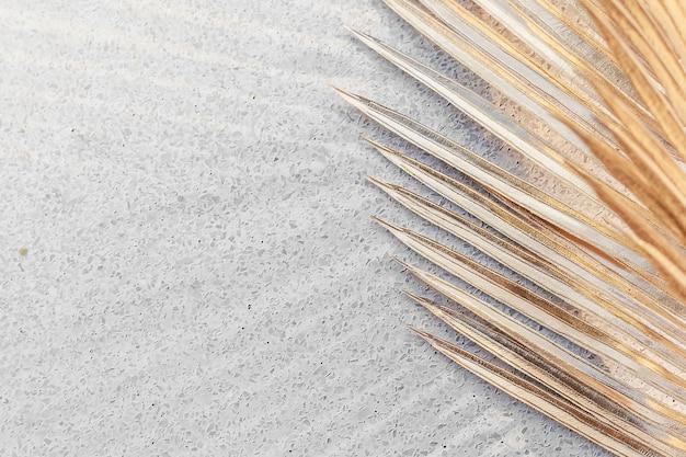 Gouden palmbladeren op een grijze betonnen achtergrondontwerpbron