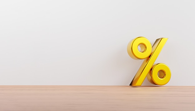 Gouden percentageteken op houten vloer en witte muur voor het toevoegen van winkelkorting, winkelpromotie en advertentieweergaveconcept. 3d render