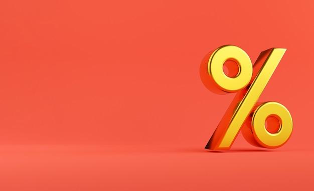 Gouden percentageteken op rode achtergrond voor het toevoegen van aantal winkelkortingen, winkelpromotie en advertentieweergaveconcept. 3d render