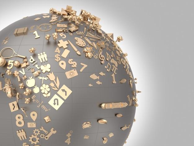 Gouden pictogrammen over het leren van kinderen op het symbool van de wereld.
