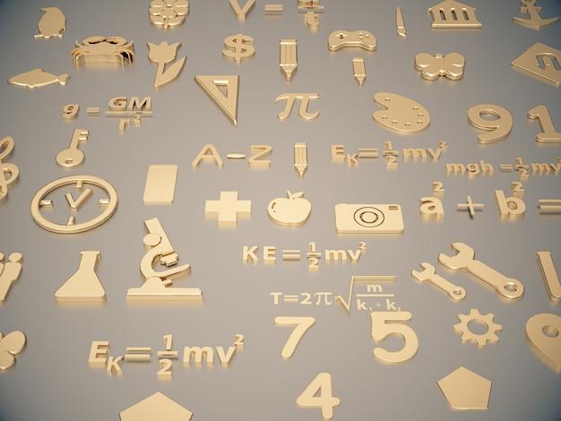 Gouden pictogrammen over het leren van kinderen op schone ruimte.