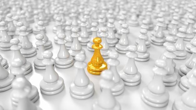 Gouden pion staat tussen een enorme menigte witte pionnen in 3d illustratie