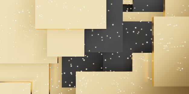 Gouden plaat achtergrond geometrische tegel abstracte hiërarchie vierkant 3d illustratie