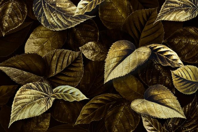 Gouden plant verlaat getextureerde achtergrond