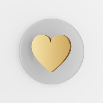 Gouden platte hart pictogram. 3d-rendering grijze ronde sleutelknop, interface ui ux-element.