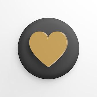 Gouden platte hart pictogram, zwarte ronde knop. 3d-weergave.