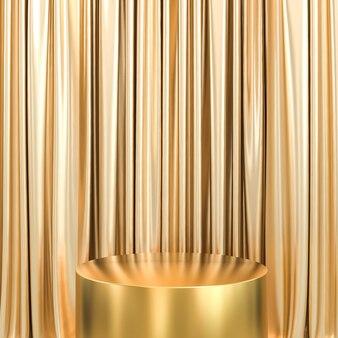 Gouden podium en gouden gordijnen met houten vloer