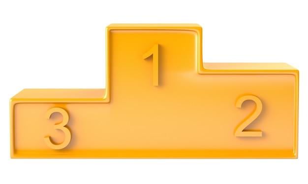 Gouden podium met drie rangen geïsoleerd op een witte achtergrond
