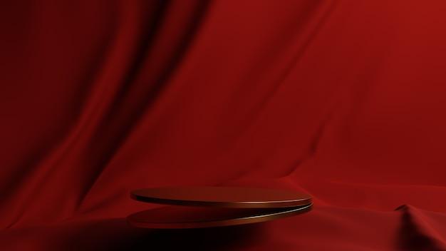 Gouden podium met rode stof achtergrondd