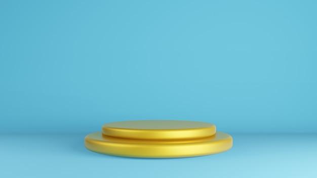 Gouden podium op vintage blauwe muur voor huidige product