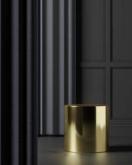 Gouden podium op zwarte mockupscène, abstracte achtergrond voor product of presentatie. 3d-rendering