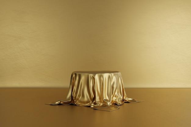 Gouden podium podium met luxe stof op gouden achtergrond Premium Foto