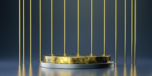 Gouden podium voor productpresentatie, 3d-rendering