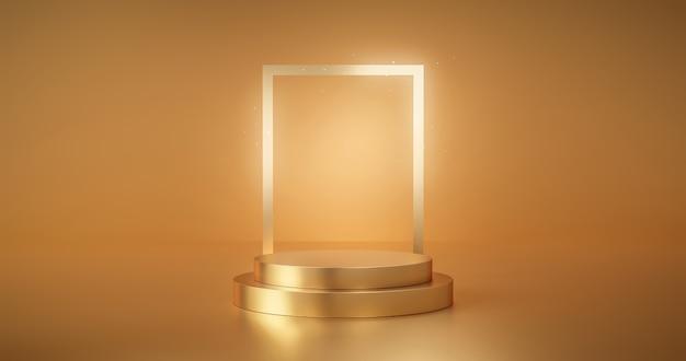 Gouden podiumproduct reclame podium achtergrond platform of lege luxe voetstuk tentoonstelling scène en lege sjabloonontwerp staan op gouden presentatie studio display achtergrond showcase. 3d render.