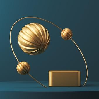 Gouden podiumring en ballen op blauw platform, abstracte achtergrond voor presentatie of reclame. 3d-rendering