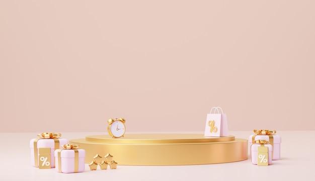 Gouden podiumstandaard voor producten en geschenken en coupon. 3d-rendering