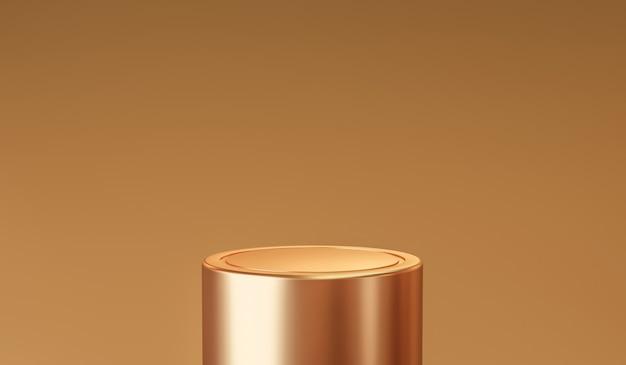 Gouden productachtergrondstandaard of podiumvoetstuk op gouden display met luxe achtergronden. 3d-weergave.
