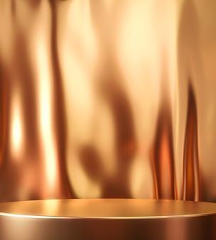 Gouden productachtergrondstandaard of podiumvoetstuk op luxe reclamedisplay met satijnen achtergronden. 3d-weergave.
