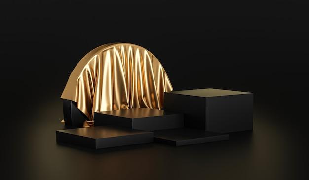 Gouden productachtergrondstandaard of podiumvoetstuk op luxe reclamevertoning met lege achtergronden.