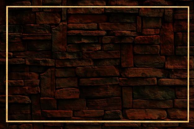 Gouden rand en harde granieten muur oude stenen buitenkant textuur oppervlak achtergrond