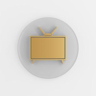 Gouden retro tv-pictogram in vlakke stijl. 3d-rendering ronde grijze sleutelknop, interface ui ux-element.