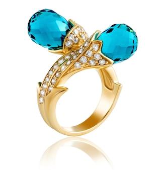 Gouden ring met diamanten en edelstenen topaas