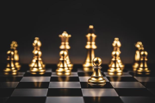 Gouden schaakclose-up